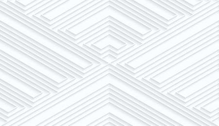 Quilling white paper striped corners.White geometric background. Seamless pattern. 3d cut out of paper effect with realistic shadow. Illustration