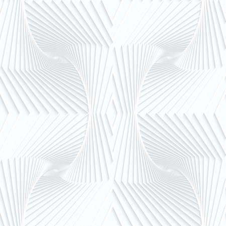 tillable: Quilling white paper striped bulges.White geometric background. Seamless pattern. 3d cut out of paper effect with realistic shadow.