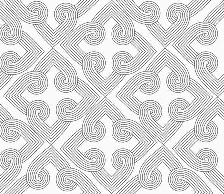 Slim gray hatched hearts forming squares.Seamless stylish geometric background. Modern abstract pattern. Flat monochrome design. Çizim