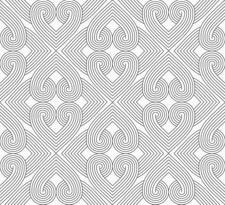 Slim gray hatched hearts forming rectangles.Seamless stylish geometric background. Modern abstract pattern. Flat monochrome design.