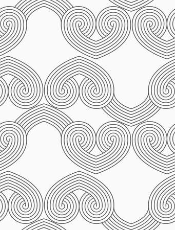Slim gray hatched hearts in row.Seamless stylish geometric background. Modern abstract pattern. Flat monochrome design.