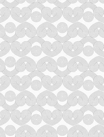 interlocked: Slim gray hatched hearts in row with circles.Seamless stylish geometric background. Modern abstract pattern. Flat monochrome design.