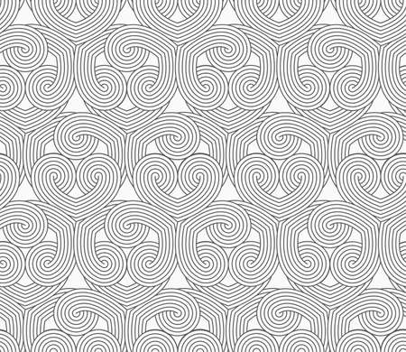 interlocked: Slim gray hatched hearts overlapping.Seamless stylish geometric background. Modern abstract pattern. Flat monochrome design.