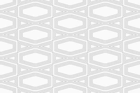 tillable: Slim gray squished hexagon with offset.Seamless stylish geometric background. Modern abstract pattern. Flat monochrome design.