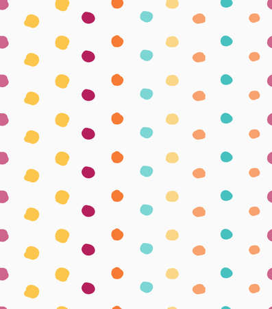 tillable: Painted green yellow orange and purple dots.Hand drawn with paint brush seamless background. Abstract colorful texture. Modern irregular tillable design. Illustration