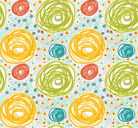 tillable: Painted orange and green circles with dots.Hand drawn with paint brush seamless background. Abstract colorful texture. Modern irregular tillable design.