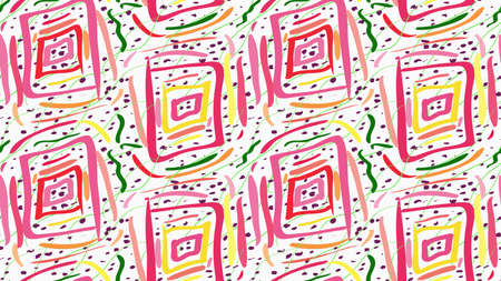 tillable: Painted pink squares and green scribbles.Hand drawn with paint brush seamless background. Abstract colorful texture. Modern irregular tillable design. Illustration