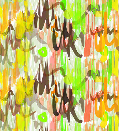 Rough brush green yellow and brown overlapping strokes.Abstract colorful seamless background. Stained and grunted texture over hand drawn paint brush ornament. Illustration