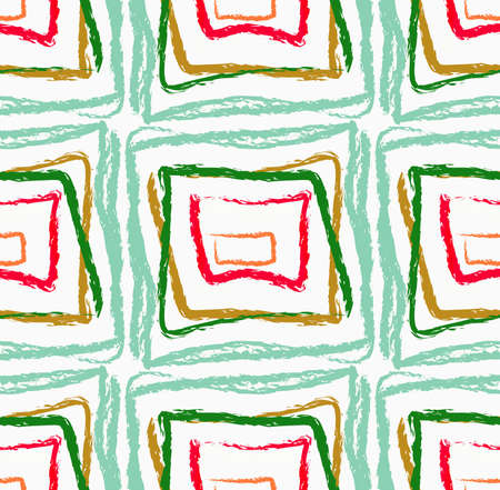 hand torn: Rough brush green and red squares.Abstract colorful seamless background. Stained and grunted texture over hand drawn paint brush ornament. Illustration