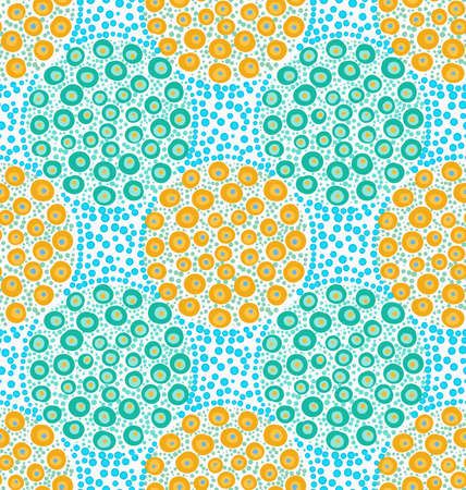 Painted orange and green dotted circles on blue dots.Hand drawn with paint brush seamless background. Abstract colorful texture. Modern irregular tillable design. Illustration