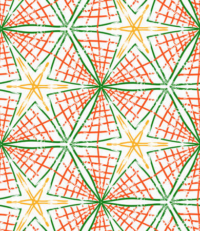 Rough brush green and orange checkered triangles.Abstract colorful seamless background. Stained and grunted texture over hand drawn paint brush ornament.