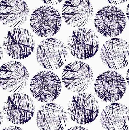 Círculos azules garabateados. Fondo geométrico con estilo inconsútil. Patrón abstracto moderno. Diseño con textura plana. Foto de archivo - 46329054