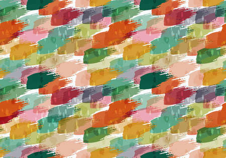 spalsh: Rough brush orange and green splashes.Abstract colorful seamless background. Stained and grunted texture over hand drawn paint brush ornament.