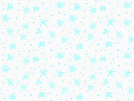tillable: Painted blue snowflakes with dots.Hand drawn with paint brush seamless background. Abstract colorful texture. Modern irregular tillable design.