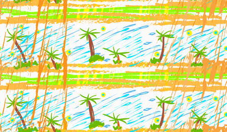 Rough brush palm trees.Abstract colorful seamless background. Stained and grunted texture over hand drawn paint brush ornament.