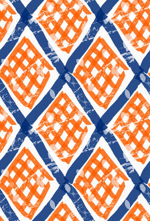 rough diamond: Rough brush diamond grid with orange checkered.Abstract colorful seamless background. Stained and grunted texture over hand drawn paint brush ornament.