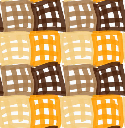 tillable: Painted orange and brown checkered marker squares.Hand drawn with paint brush seamless background. Abstract colorful texture. Modern irregular tillable design. Illustration