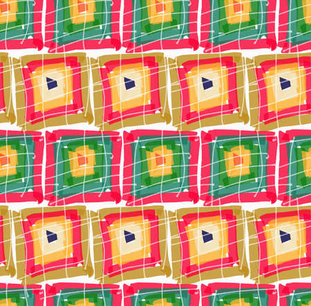 paint swatch: Rough brush green red pink squares in row.Abstract colorful seamless background. Stained and grunted texture over hand drawn paint brush ornament. Illustration