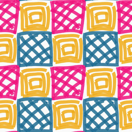 tillable: Painted pink blue and yellow squares.Hand drawn with paint brush seamless background. Abstract colorful texture. Modern irregular tillable design.