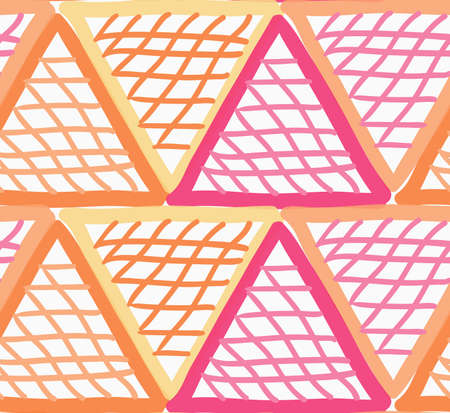 tillable: Painted red and orange marker triangles checkered.Hand drawn with paint brush seamless background. Abstract colorful texture. Modern irregular tillable design.