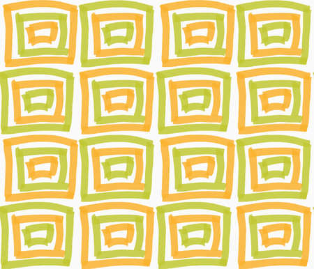 Painted orange and green marker squares.Hand drawn with paint brush seamless background. Abstract colorful texture. Modern irregular tillable design.