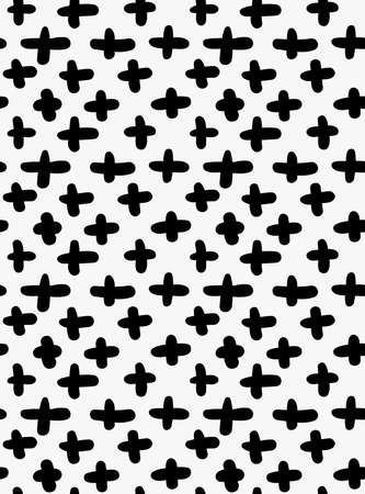 spalsh: Black marker drawn simple crosses.Hand drawn with paint brush seamless background. Abstract texture. Modern irregular tilable design. Illustration