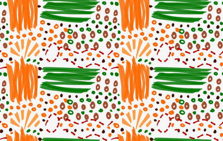 paint swatch: Abstract orange and green strokes with circles.Hand drawn with paint brush seamless background.Modern hipster style design.