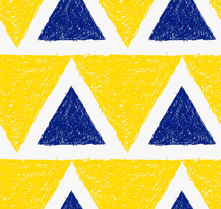 Pencil hatched yellow and blue triangles.Hand drawn with brush seamless background.Modern hipster style design.