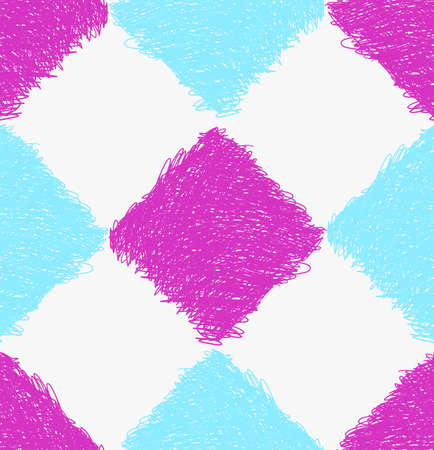 Pencil hatched blue and purple squares.Hand drawn with brush seamless background.Modern hipster style design.