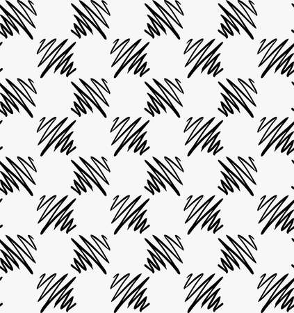 spalsh: Black marker drawn hatched zigzag squares.Hand drawn with paint brush seamless background. Abstract texture. Modern irregular tilable design.