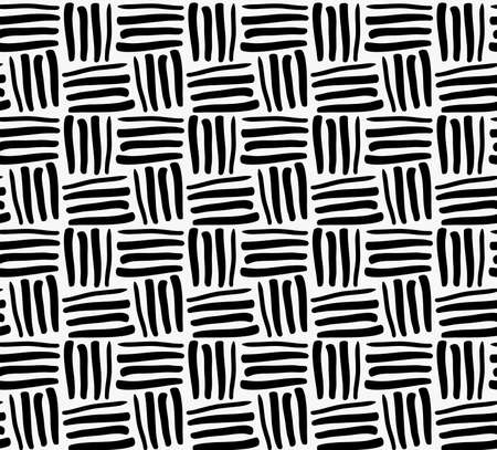 tilable: Black marker drawn stripes.Hand drawn with paint brush seamless background. Abstract texture. Modern irregular tilable design.
