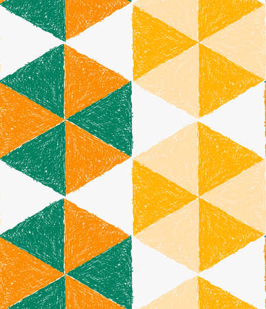 Pencil hatched orange green and yellow triangles forming hexagons.Hand drawn with brush seamless background.Modern hipster style design.