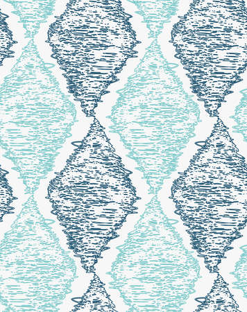 hatched: Pencil hatched blue diamonds.Hand drawn with brush seamless background.Modern hipster style design.