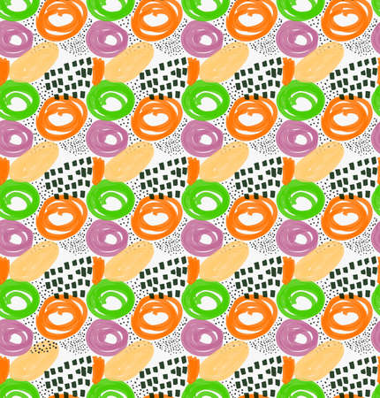 Abstract orange green and purple circles with black dots.Hand drawn with paint brush seamless background.Modern hipster style design. Illustration