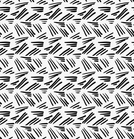 tilable: Black marker drawn simple uneven hatches.Hand drawn with paint brush seamless background. Abstract texture. Modern irregular tilable design. Illustration
