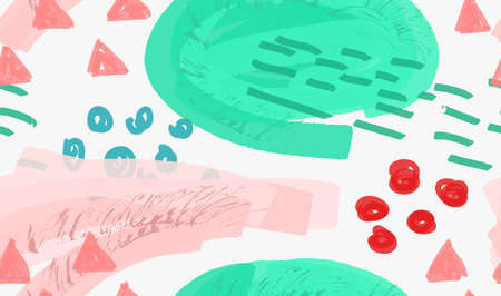 dashes: Abstract green and pink with dashes and dots.Hand drawn with paint brush seamless background.Modern hipster style design.