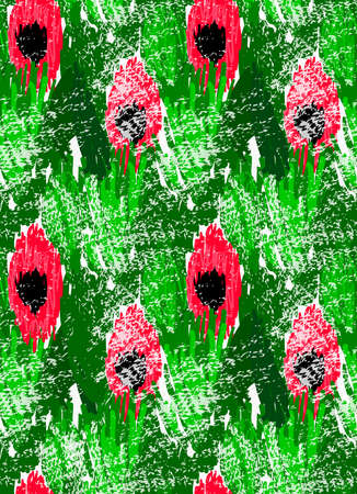 Abstract red flowers on green with grunge.Hand drawn with paint brush seamless background.Modern hipster style design. Illustration