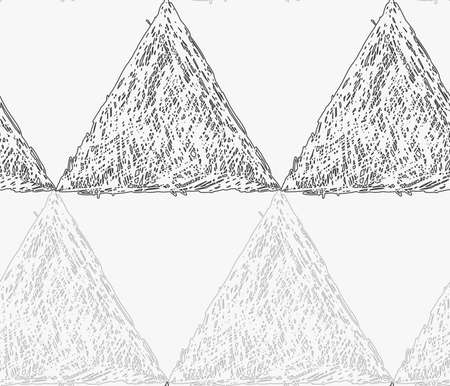 hatched: Pencil hatched gray triangles in row.Hand drawn with brush seamless background.Modern hipster style design.