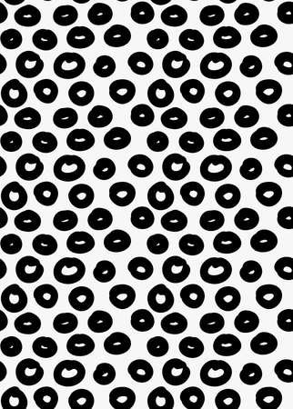 tilable: Black marker drawn simple donuts.Hand drawn with paint brush seamless background. Abstract texture. Modern irregular tilable design. Illustration