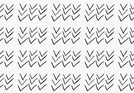 Black marker drawn simple check marks.Hand drawn with paint brush seamless background. Abstract texture. Modern irregular tilable design.