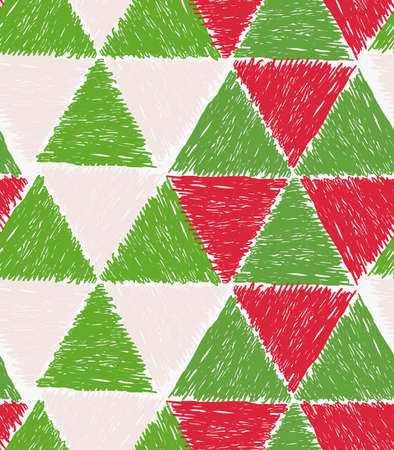 hatched: Pencil hatched green and red triangles forming hexagons.Hand drawn with brush seamless background.Modern hipster style design.