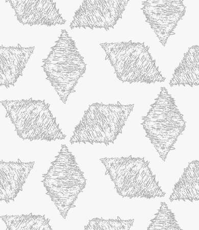 hatched: Pencil hatched light gray diamonds.Hand drawn with brush seamless background.Modern hipster style design.