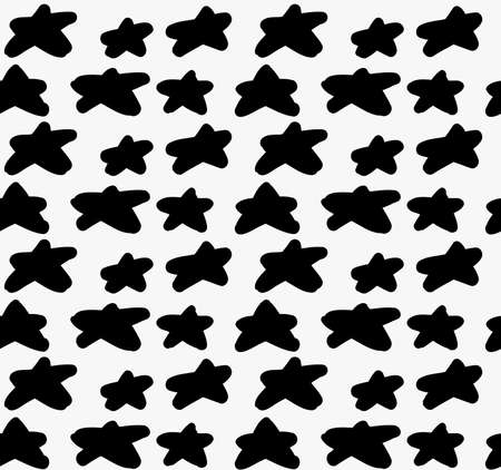 tilable: Black marker drawn simple stars.Hand drawn with paint brush seamless background. Abstract texture. Modern irregular tilable design. Illustration
