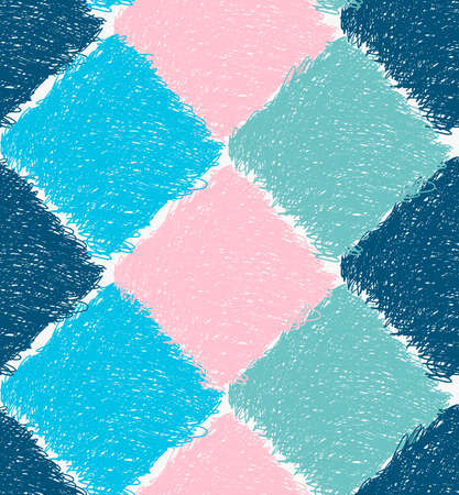 Pencil hatched blue pink and green squares.Hand drawn with brush seamless background.Modern hipster style design.