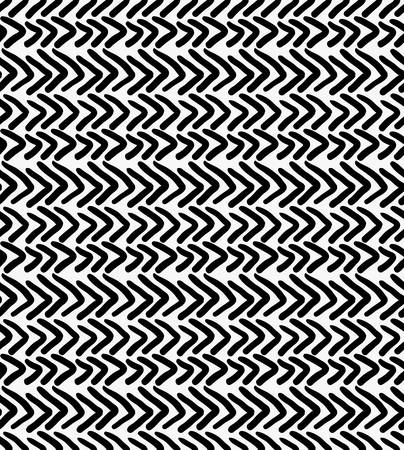 Black marker drawn simple chevrons.Hand drawn with paint brush seamless background. Abstract texture. Modern irregular tilable design.