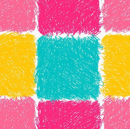 hatched: Pencil hatched pink yellow and green squares.Hand drawn with brush seamless background.Modern hipster style design. Illustration