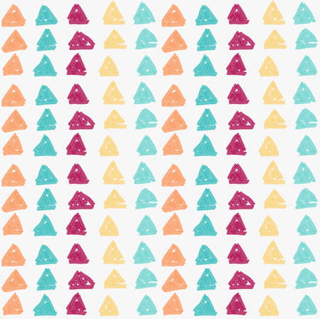 tilable: Marker drawn green yellow orange red hatched triangles.Hand drawn with marker seamless background.Modern hipster style design.