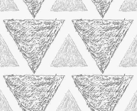 hatched: Pencil hatched light and dark gray triangles.Hand drawn with brush seamless background.Modern hipster style design. Illustration