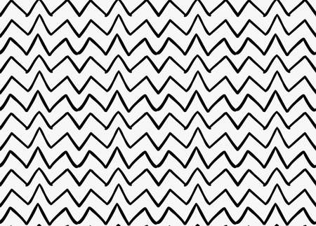 Black marker drawn simple uneven zigzag.Hand drawn with paint brush seamless background. Abstract texture. Modern irregular tilable design.