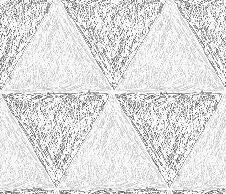 hatched: Pencil hatched light and dark gray triangles in row.Hand drawn with brush seamless background.Modern hipster style design.